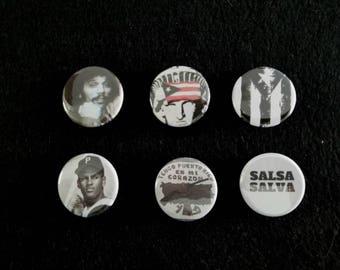 Boricua Pride Bandera, Clemente, Pinero, YLP, Pinback Badges, Buttons Six Pack