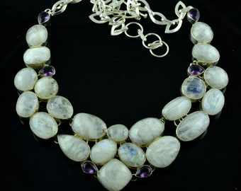 Rainbow Moonstone & Amethyst Gemstone Sterling Silver Necklace,Gemstone Silver Necklace