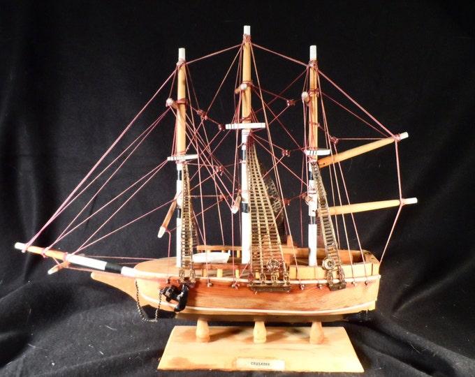 Model Sailing Ship-Wood Handmade 1800,s style sailing ship Crusader-Nautical Decor