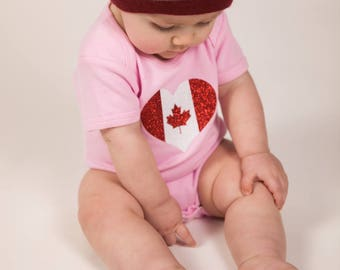 Unique Baby Outfits For Girls - Christmas Present Ideas For Mom To Be - Glitter Outfit For Baby Girl - Canada - Maple Leaf - Canadian