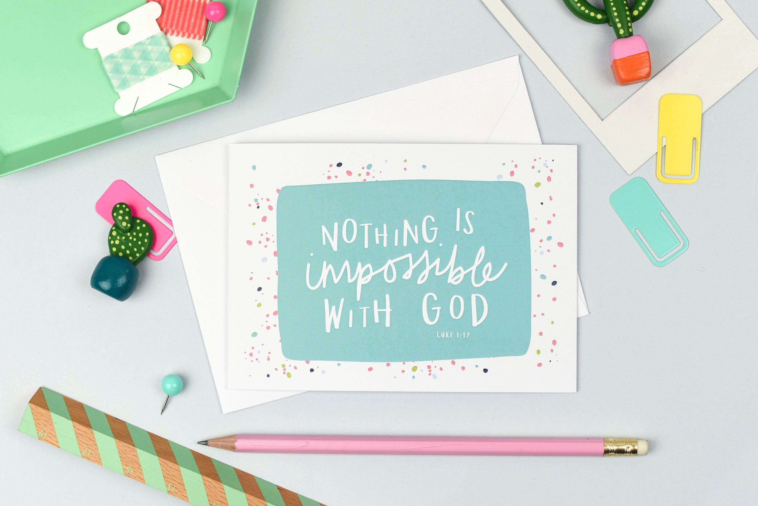 Nothing Is Impossible With God Christian Cards Colourful