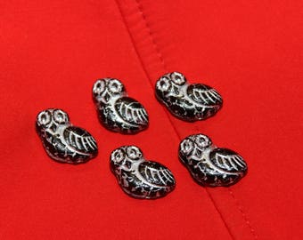 Owl cheerful black, silver lines owl 17mm (6pcs)