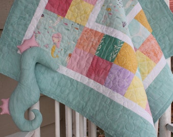 Custom Aqua Mermaids Baby Girl Quilt with Stuffed Seahorse Toy // Gift for Baby // Baby Shower Gift // Baby Quilt