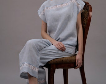 Linen Cropped Pajama Trouser For Women/ Linen Sleepwear/ Flax Trouser/ Linen Trouser Laced/ Linen Lingerie