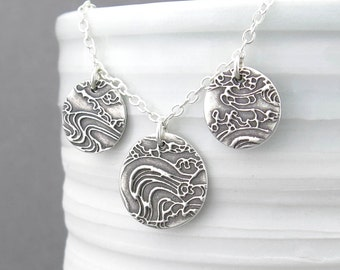 Layered Necklace Silver Necklace Silver Circle Necklace Circle Pendant Necklace Sterling Silver Jewelry Bohemian Jewelry - Serenity