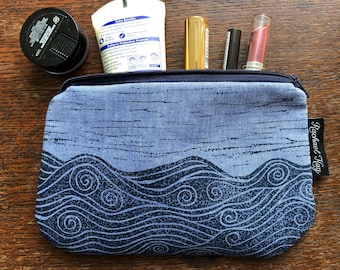Hand printed really useful pouch / case / makeup case / notions case / purse / pencil case