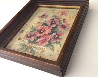 Vintage Framed Pansy Print Rustic Shabby Chic Framed Wall Art Pansies