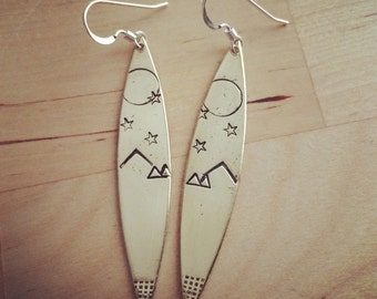 Petroglyph earrings sterling silver and bronze hand stamped earrings moonrise