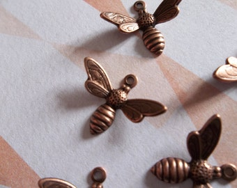 Antiqued Copper Bee Charms or Pendants with Wings Bent in Flight - 17 X 11mm - Qty 5
