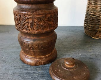 vintage wooden jar with lid - carved wood trinket box - boho teakwood vase