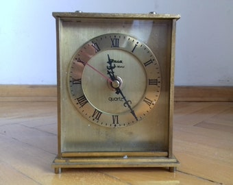 Vintage heavy brass table clock Insa-Aura metal/ 70's Quarz clock made in Yugoslavia/Kienzle Clock Movement-Working