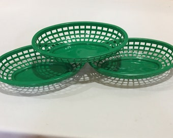 Green Food Baskets, Food Tray, HEAVYWEIGHT Party Baskets, Use for Party, Picnic, BBQ, Events