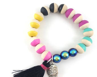 Sugar Skull Charm Bracelet, Dia de los Muertos, Tassel, Hand Painted, Wooden Beads, Girl Gift