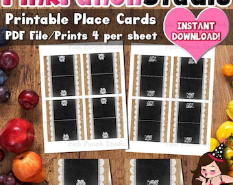 Printable Thanksgiving Place Cards Buffet Station Food Tent Cards INSTANT DOWNLOAD PDF File Fits Avery 5302