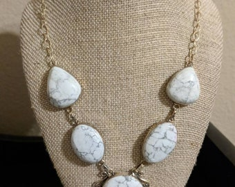 Genuine natural howlite statement Y necklace