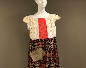 XLarge, Large, Upcycled Clothing, Recycled, Reclaimed, Tunic, Wearable Art, Artsy, Urban Chic, Boho, Gypsy, Recyled shirts, Altered Eden