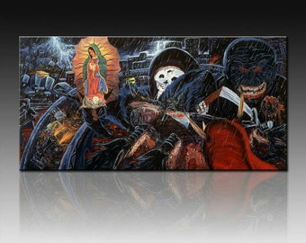 """Death of Juanito 2 .Giclee on canvas 30"""" by 60"""" embellished and signed by the original artist Adan Hernandez"""