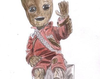 Baby Groot - Original A4 artwork