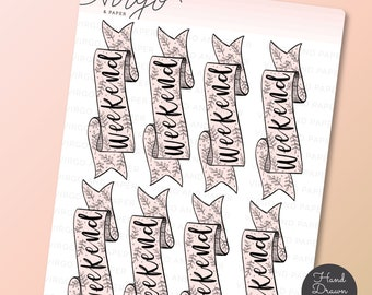 Weekend Banner Hand Drawn Planner Stickers - Hand Drawn Pink Floral Weekend Banner Doodle Stickers  - WB4