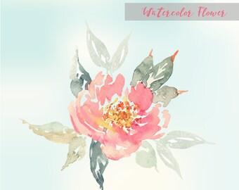 Vector Pastel watercolor flower, Vintage watercolor design, Watercolor floral elements. Watercolor invitation elements, watercolor clip arts