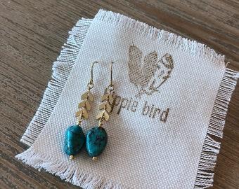 Turquoise stone dangle earrings-wire wrapped turquoise drop earrings-matte gold chain earrings-lightwieght earrings