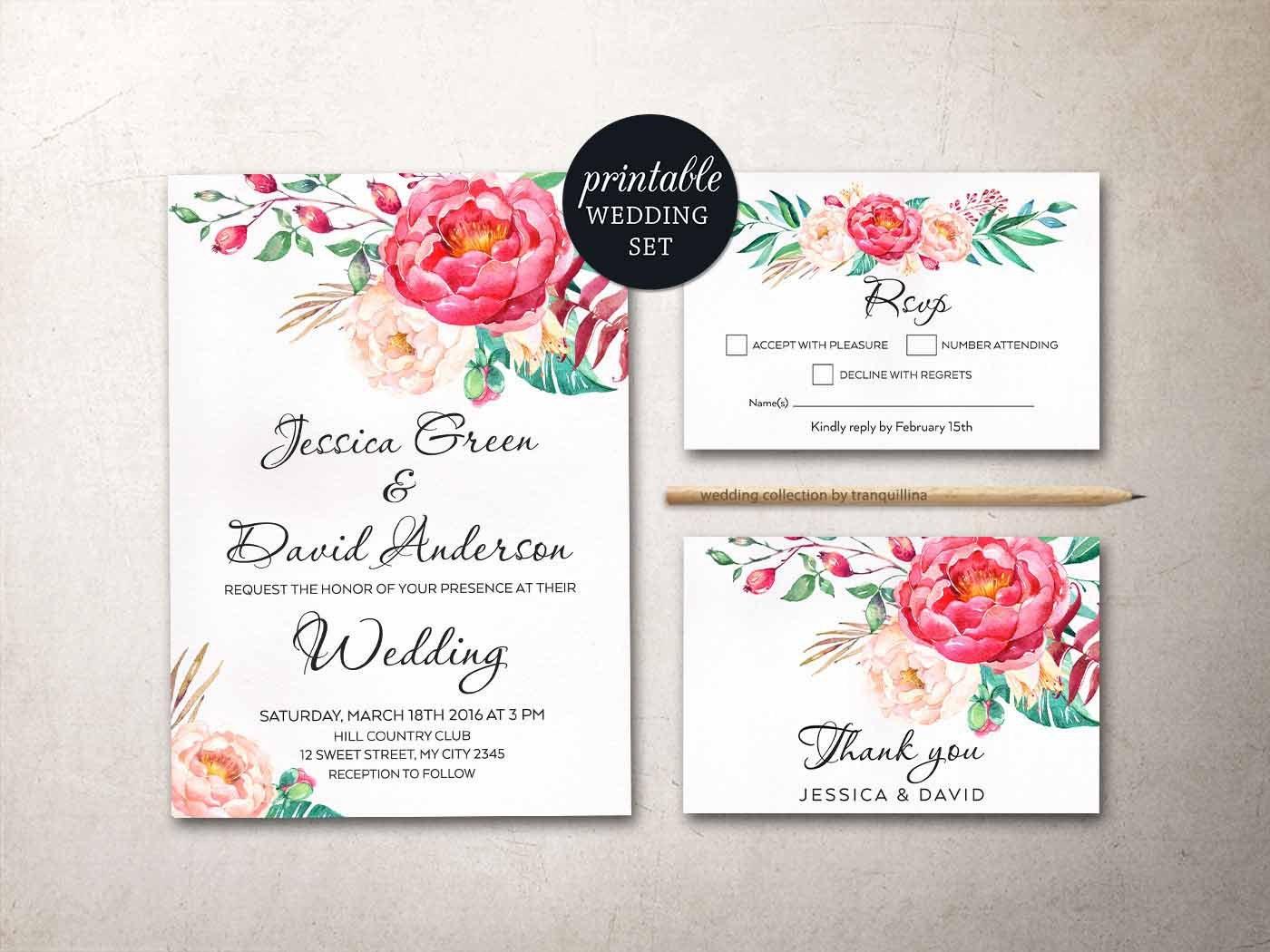 Pink Wedding Invitation Floral Wedding Invitation Suite Boho