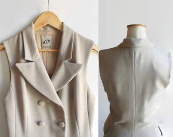 Waistcoat Dress Double Breasted in Beige Crepe - 90s Vintage Womens Clothes - Trench, Maxi, Sleeveless, Pockets, Size 8, Buttoned Down Dress