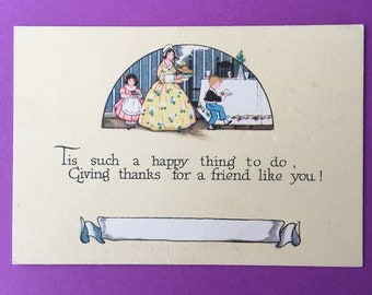 1924 Antique Hello Thinking Of You Card // Name Card Placeholder // Friendly Note 1920's