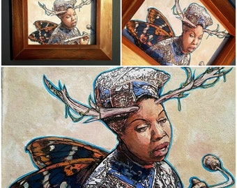 FAIRY Nina Simone - framed original painting Butterfly Wings and Antlers