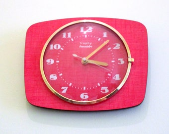 French 1950-60s Atomic Age - TROPHY Raspberry RED Formica Wall Clock - Funky Shape - Good Working Condition