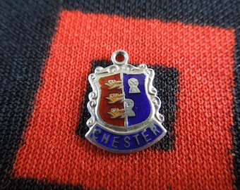 Enamel Silver Chester Charm England Travel Shield Crest Silver Charm for Bracelet from Charmhuntress 02410