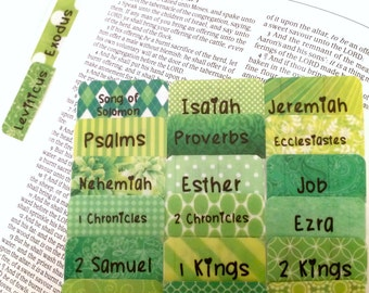 """CATHOLIC Greenie Green """"I Heart Spring"""" Books of Bible Tabs by Victoria Anderson"""
