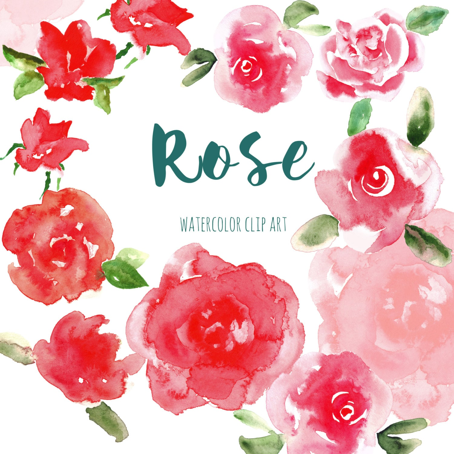 Watercolor clipart, red flower Digital clipart hand drawn. Rose ...