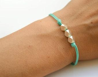 Nuggets bracelet, silver bracelet, turquoise bracelet, matt silver nugget beads, geometric dainty bracelet, minimalist jewelry, gift for her