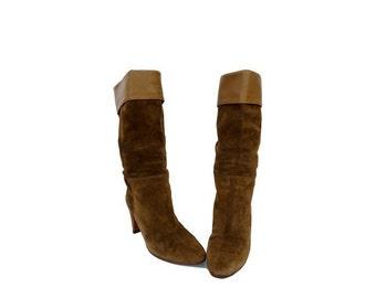 1980s Charles JOURDAN green suede high heels BOOTS // women's boots // size eu 36 - uk 3.5 - us 5.5
