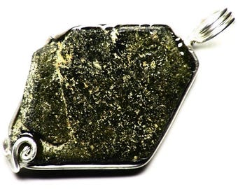 Hexagonal Magnetic Epidote Crystal Pendant Necklace, Brown Epidote Jewelry, Sterling Silver Epidote (44 ct) Chunky Crystal Mens Necklace