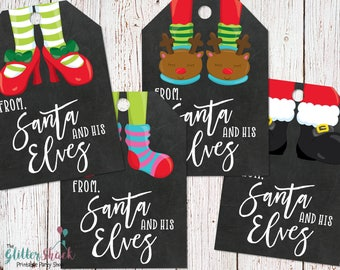 PRINTABLE From Santa And His Elves Gift Tags, Christmas Gift Tags, Chalkboard Gift Tags, Holiday Gift Tags, Christmas Feet, INSTANT DOWNLOAD