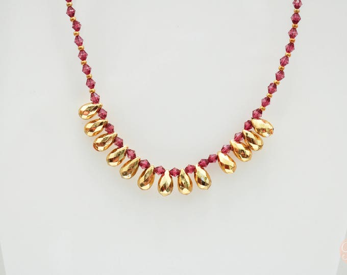 Marrone and Gold Long Beaded Necklace.