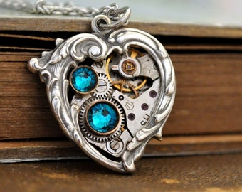 blue heart, steampunk jewelry, Valentine Jewelry, In My HEART All the TIME,  Victorian heart necklace, blue zircon heart,