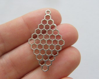 6 Honeycomb charms silver tone A813