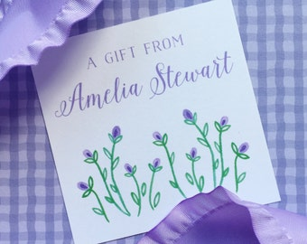 personalized lavender flower gift enclosures