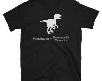 Funny dinosaur physics equation. Science Geek Men's T-shirt.