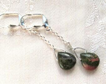 12x10mm Gemstone Teardrop Dangle Earrings in Three Varieties in Sterling Silver and Silver Plate