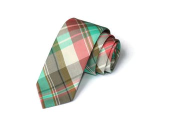 Coral and Mint Plaid~Necktie~Anniversary Gift~Wedding Tie~Mens Gift~Boys Necktie~Mens Necktie~Wedding~Mens Tie~Boys Tie~Coral Mint Tie
