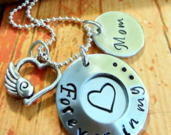 In Memory of Necklace,Hand stamped Necklace,Remembrance Necklace,Memorial Necklace,Mom Necklace,Sympathy Gift,Forever In My Heart Necklace