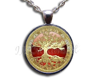 Tree of Life Gold Red Dome Pendant or with Chain Link Necklace NT133