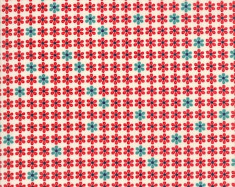 Red and Blue Daisy Floral Fabric - Sunday Drive by Pat Sloan from Moda