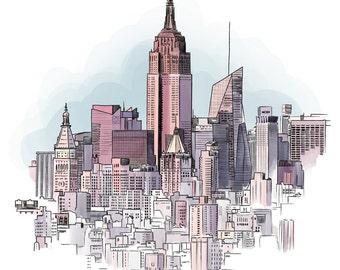 New York cityscape - Illustration Print