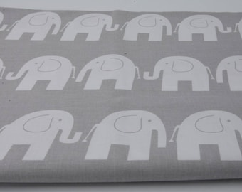 100% cotton fabric piece 160 x 50 cm, textile printing, cotton 100% white elephants on gray background