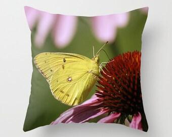 Clouded Sulphur Butterflies, Throw Pillow, Photo, Pillow Covers, Nature Lover, Photography, Outdoor Pillows, Teacher Gift, Housewarming Gift